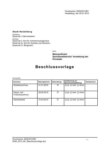 Vorlage Sozialausschuss - Stadtpolitik Heidelberg