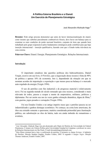 A Política Externa Brasileira eo Etanol - SciELO Proceedings