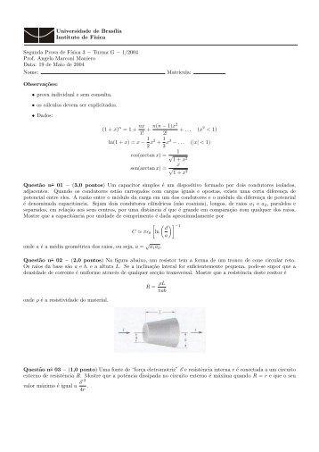 Prova II - Instituto de Física da UFBA