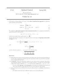 Optimal Control Problem Set #8 - LA