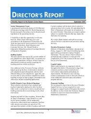 director's report - Eastern School District