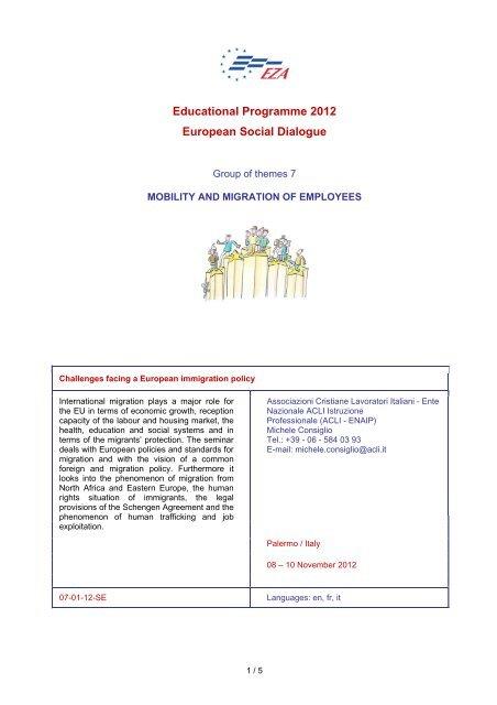 Educational Programme 2012 European Social Dialogue - EZA