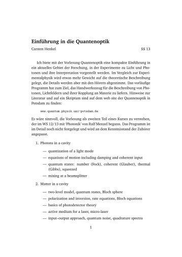 Übersicht - Quantenoptik