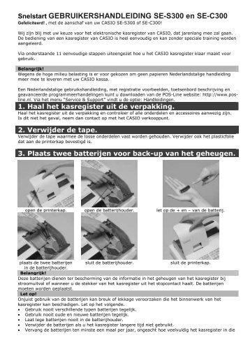 Casio SE-S300 Snelstart handleiding - Pointofsale.nl