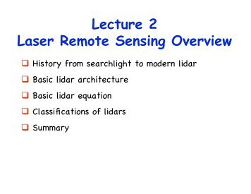 Lecture 2 Laser Remote Sensing Overview