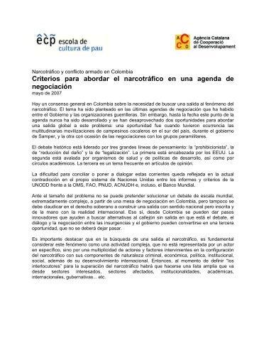 Narcotrfico y conflicto armado en Colombia - Escola de Cultura de Pau