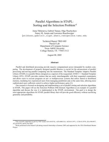 Parallel Algorithms in STAPL: Sorting and the Selection Problem (pdf)