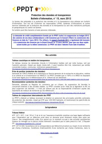 Bulletin d'informations n° 15 - Mars 2012 - Etat de Genève