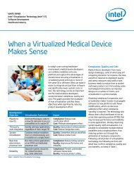 When a Virtualized Medical Device Makes Sense, White Paper - Intel