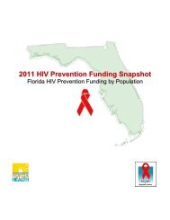 2011 HIV Prevention Funding Snapshot - Florida Department of Health