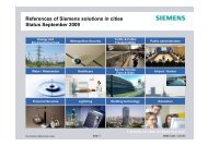 References of Siemens solutions in cities Status September 2009