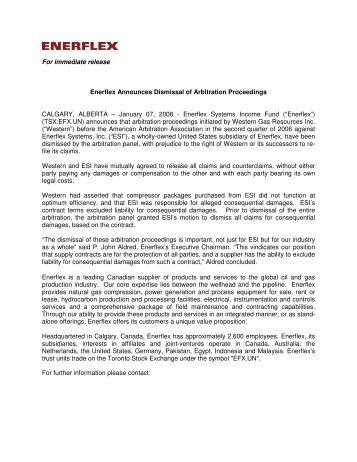 For immediate release Enerflex Announces Dismissal of Arbitration ...