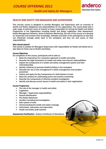 Anderco Health and Safety for Managers