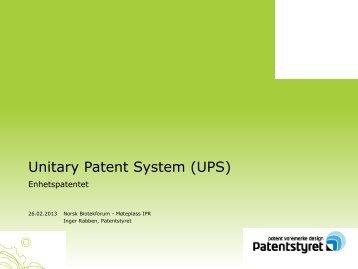Status for enhetspatentet - Biotekforum