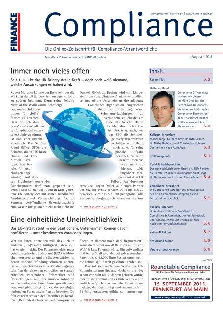 (PDF)   Ausgabe August 2011 - Compliance