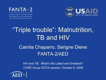 """""""Triple trouble"""": Malnutrition, TB and HIV - CORE Group"""