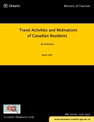 TAMS 2006 Overview Canadian Report - Ministry of Tourism