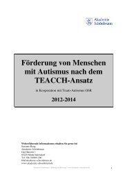 Förderung von Menschen mit Autismus nach dem ... - Schönbrunn