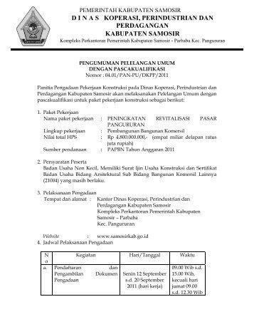 dinas koperasi, perindustrian dan perdagangan kabupaten samosir
