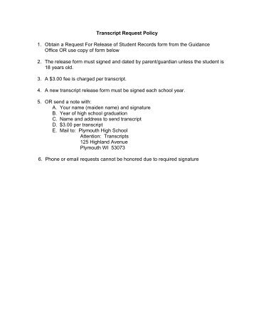 Transcript Request - Plymouth School District