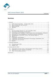 EAFT Annual Report 2012 Summary - Språkrådet