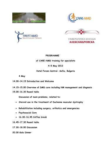 PROGRAMME of CARE-NMD training for specialists 4-5 May 2012 ...