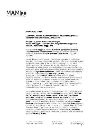 Autoritratti. Iscrizioni del femminile nell'arte italiana ... - City Red Bus