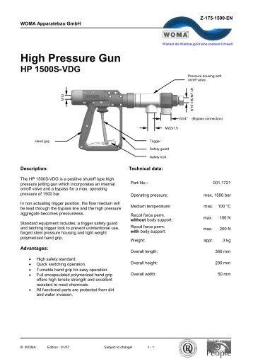 High Pressure Gun - HP 1500-V - Woma
