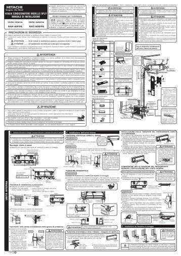 hitachi condizionatore modello split manuale di installazione