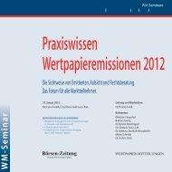 Praxiswissen Wertpapieremissionen 2012 - WM Seminare