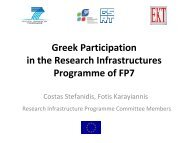 Greek Participation in the Research Infrastructures Programme of FP7