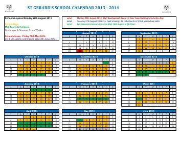 School Calendar Year to View 2013 – 2014 - St. Gerard's School