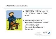 WISAG Sicherheitsdienste SECURITY-FORUM vom 10. bis 13.Oktober ...
