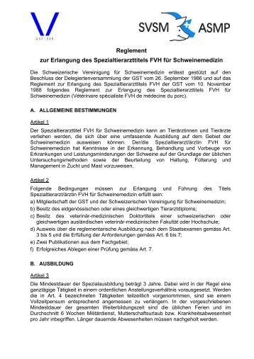 Reglement zur Erlangung des Spezialtierarzttitels FVH für ...