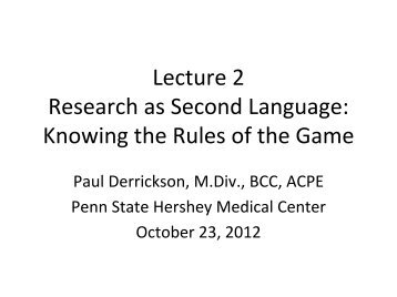 Research as Second Language: Knowing the Rules of the Game