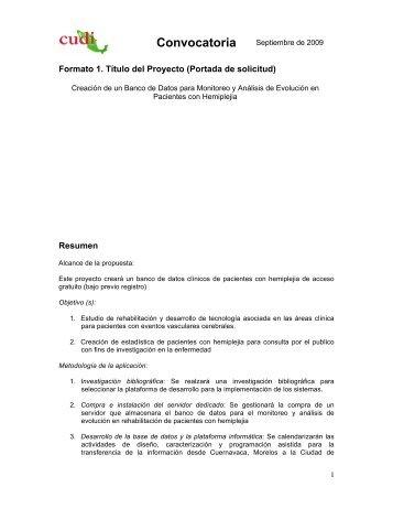 Formato 1. Título del Proyecto (Portada de solicitud) Resumen - Cudi