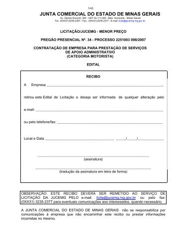 Edital Pregão Presencial - Processo 34/2007 - Junta Comercial do ...