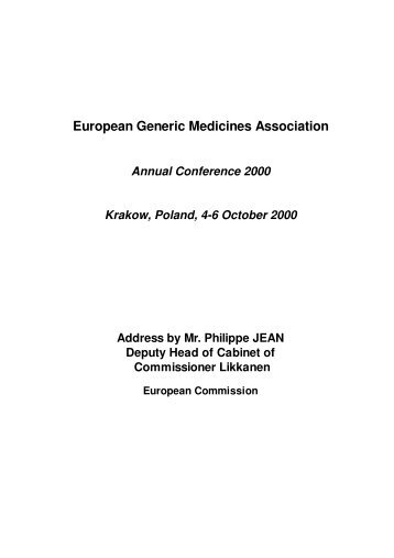 Conference Address - European Generic medicines Association