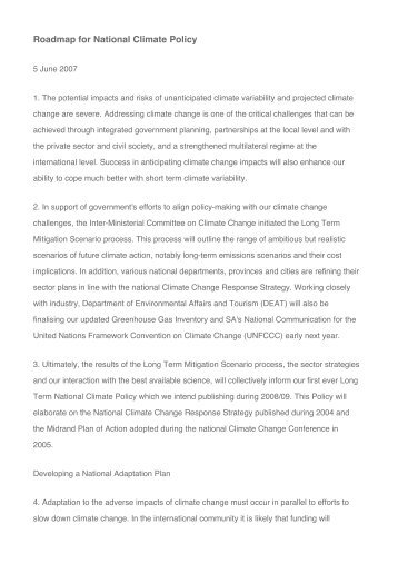 Roadmap for National Climate Policy - Arid Areas Programme