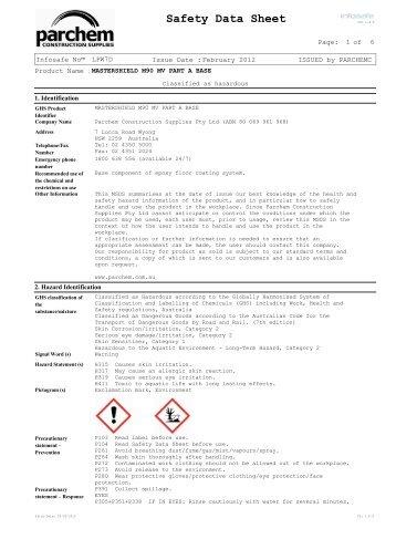Mastershield M90 MV Part A SDS - Parchem