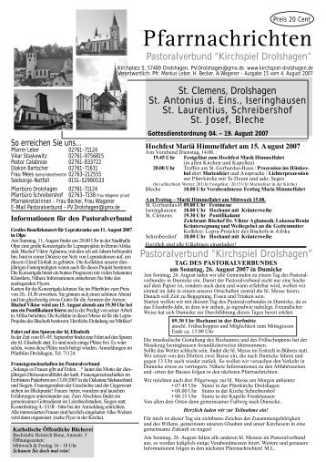 Gottesdienste 05. - 19.08.2007 - Pastoralverbund Kirchspiel ...