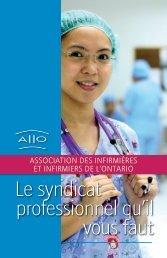 Le syndicat professionnel qu'il vous faut - Ontario Nurses' Association