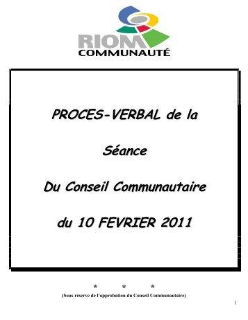 PROCES-VERBAL de la Séance Du Conseil Communautaire du 10 ...