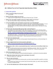 J&J / LifeScan Tour de Cure Frequently Asked Questions (FAQs)