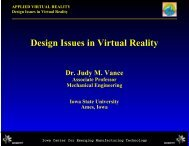 Design Issues in Virtual Reality - Iowa State University