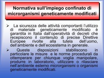 Impiego confinato di microrganismi geneticamente modificati (MOGM)