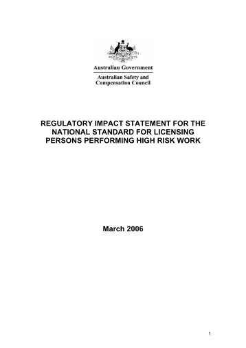 REGULATORY IMPACT STATEMENT FOR THE NATIONAL ...