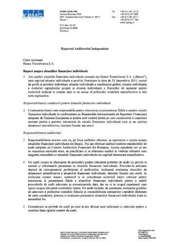 Raportul auditorului independent - Banca Transilvania