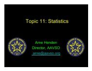 Topic 11: Statistics - AAVSO