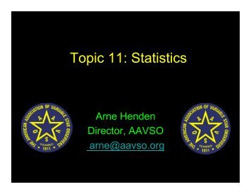 Topic 11: Statistics - AAVSO